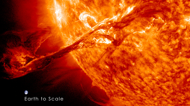 Solar flare with earth shown for scale